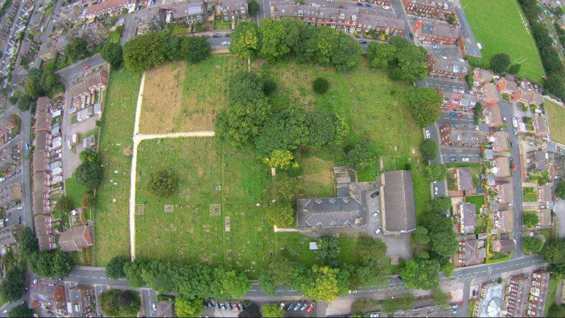 Aerial view of Bramley Baptists Churchyard.