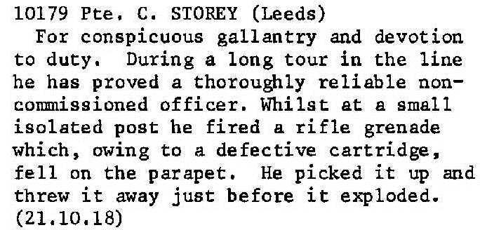 Private C. Storey DCM Citation.
