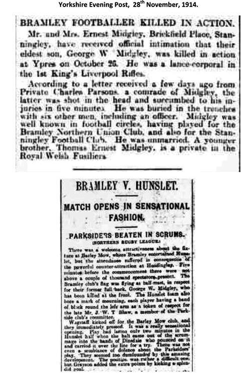 Bramley Footballer Killed in Action