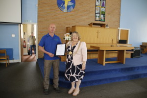 War and Remembered Graves volunteer Dave Dubej is presented with a copy of the Duke of York's Community Initiative Award by the Lord Mayor of Leeds, Cllr Jane Dowson, May 9th 2018.