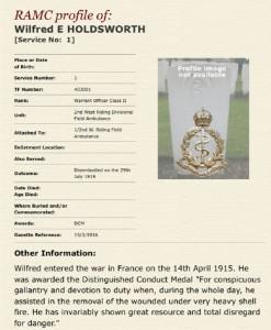 RAMC World War One details and DCM citation.